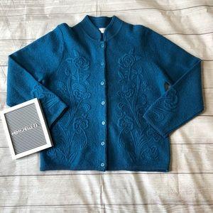 Dress Barn Womens Large Teal 100% Cardigan Sweater